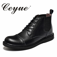 Ceyue New Fashion Brand Brogue Men Boots Black Men Autumn Genuine Leather Ankel Boots Vintage Casual