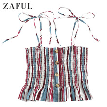 цены ZAFUL Striped Tie Shoulder Smocked Cami Top Women Lace Up Women Smock Thin Crop Top Frill Trim Shirred Bandage Female T-Shirt