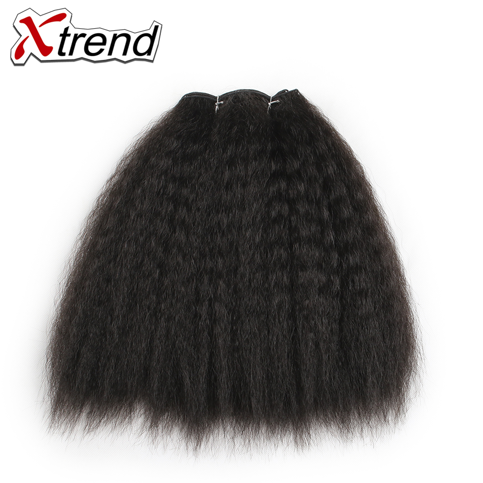 Xtrend Hair-Bundles Short Wefts Weave Yaki Synthetic-Hair Kinky Straight Women 8inch