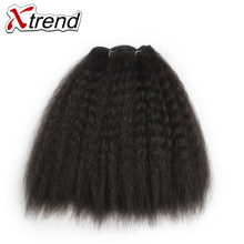 Xtrend Kinky Straight Hair Bundles For African Black Women 8inch 14inch Short Synthetic Hair Weave Kanekalon Hair Wefts(China)