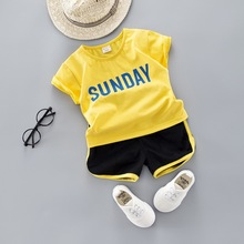 Summer Baby Boy Girl Clothes Set Letter T Shirt Tops shorts Infant Clothing Newborn Babies Suit New Born Outfit Costume Kidssets цена в Москве и Питере