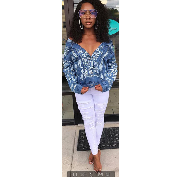 Jeans Vêtements Tops Mode Manteaux Vestes Retour Cut Manches Denim F8156 Longues À Et Sexy Bleu Femmes UFxxwOB