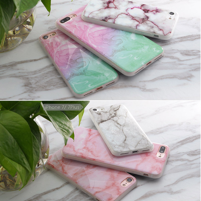 SoCouple For iphone 5s 5 SE 6 6s 6/7plus Flower Granite Scrub Marble Stone image Painted Silicone Phone Case For iphone 7 case