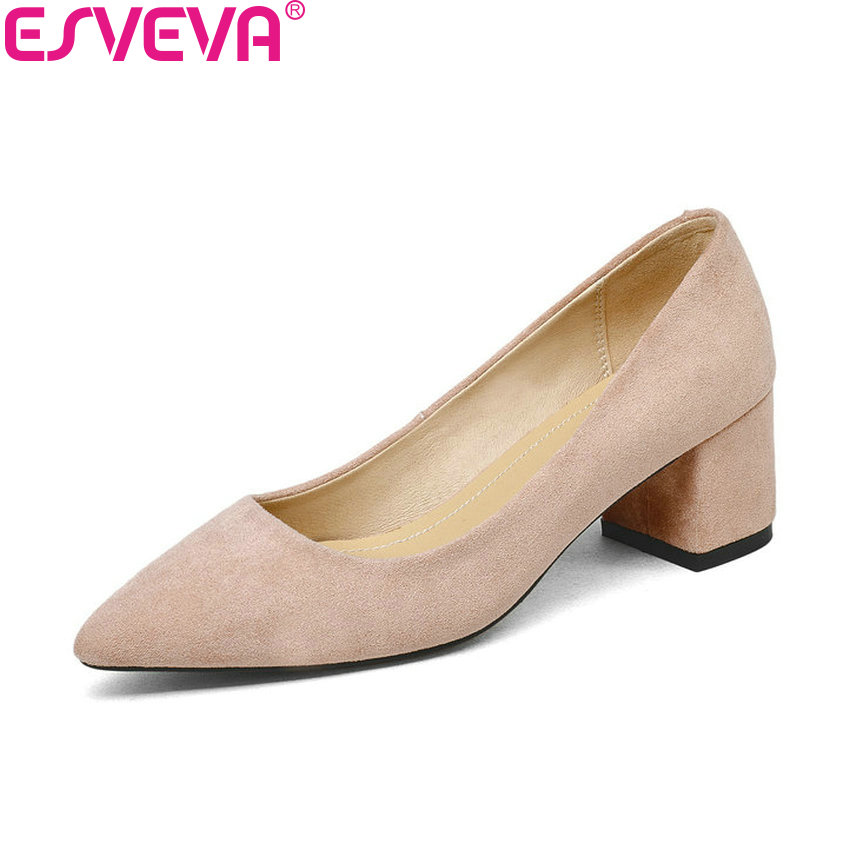 ESVEVA 2018 Women Pumps Shoes Slip on Sweet Style Slip on Square High Heels Pointed Toe Shallow Wedding Women Shoes Size 34-43 brand new fashion casual slip on sweet grey white women shoes solid summer style shoes woman 2 colors low square heels pumps