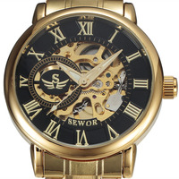 SEWOR 3d Logo Rome Design Hollow Engraving Gold Silver Case Steel Skeleton Mechanical Watches Men Luxury