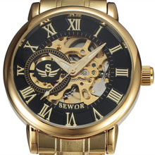 SEWOR 3d Logo Rome Design Hollow Engraving Gold Silver Case Steel Skeleton Mechanical Watches Men Luxury Brand Heren Horloge