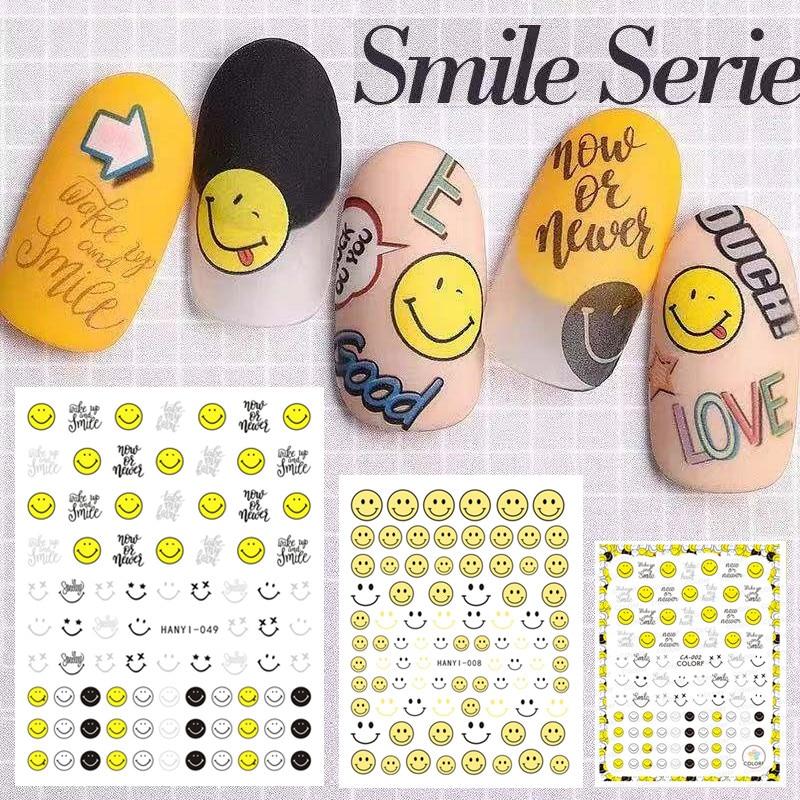 Mais novo adesivo da arte do prego 3d SOLONAIL hanyi-08 sorriso amarelo Selo Decalques Ferramenta DIY Ferramentas de Decoração de Unhas nail art decal ferramentas