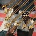 NYUKI 7 Estilo de La Manera Del Ángel de Oro Colgante Gargantilla Collar Con 75 cm cadena de Hip Hop de Los Santos Ángeles Con Caja de Regalo Para Los Hombres/Mujeres Regalo