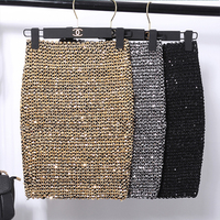 Women Sequin Bodycon Elastic Mini Skirt Bandage Gold Sliver Shining Black Lady Femme Mujer Vintage Fashion