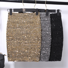 women sequin bodycon elastic mini skirt bandage gold sliver shining black  lady femme mujer vintage fashion 2dd9b57665b5