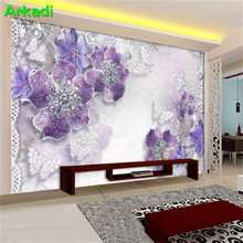 Simple noble gorgeous purple European 3d flower wallpaper living room TV background living room bedroom mural butterfly pearl 8d цена 2017