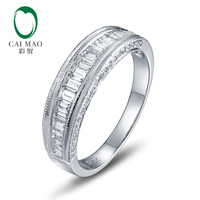Caimao Jewelry Unplated 14k Gold Natural 1.25ct Round/Baguette Diamond Milgrain Engagement Wedding Band