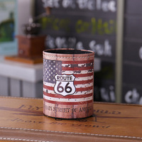 LINKWELL Antique Wood Slat USA American National Flag Route 66 PU Leather Pencil Pen Holder Desk