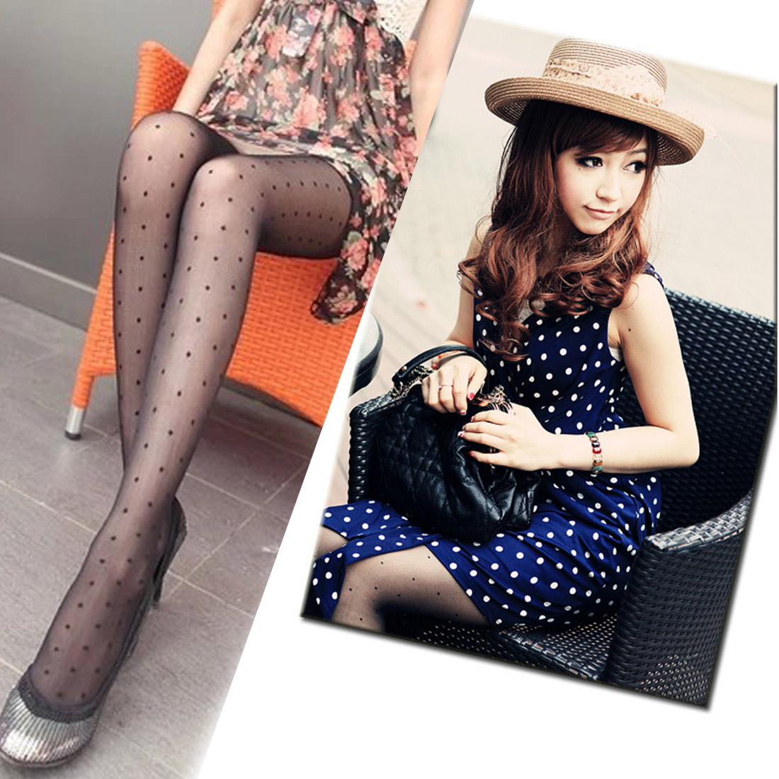 Womens Black Lace Small Dot Skeleton Tattoo Shiny Pantyhose Stockings Tights Slim Fishnet Tights Party Club