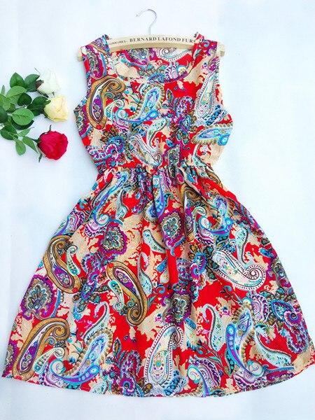 CDJLFH Brand New Fashion Casual Summer Women Dress Elegant Ladies Sexy Sleeveless Printed Beach Chiffon Dress Female Vestidos