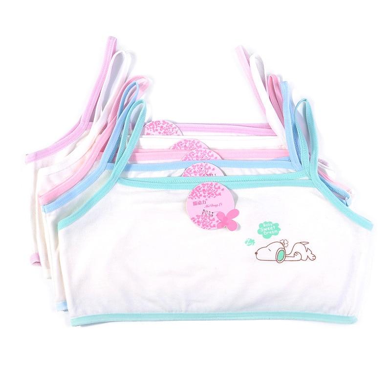 3pcs/Lot Young Girl Training Bra Children Cartoon Cat Print Bra 6-12 Years Teenager Cotton White Vest Camisoles Underwear