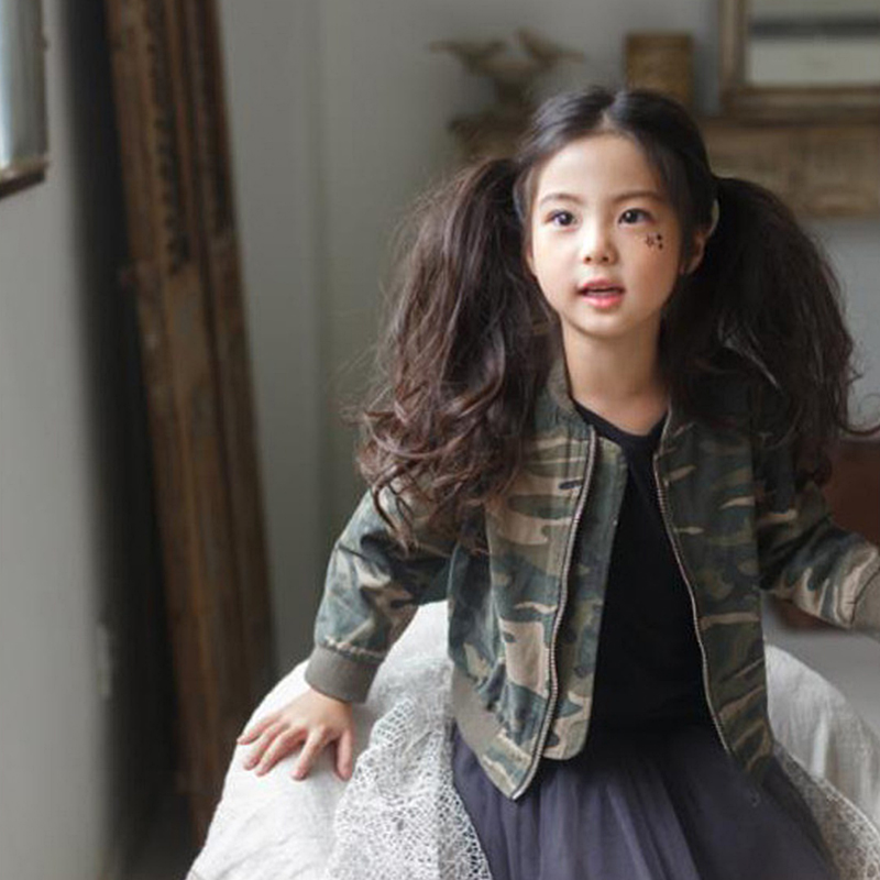 ФОТО 2016 New arrival Autumn Girls Outerwear Coat O-neck Collar Zipper Camouflage Pattern Baby Girls Clothing for 3-9 Years Kids Girl