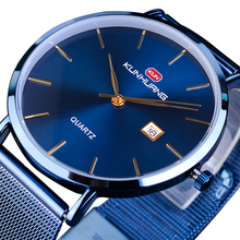 2019 New Relogio Masculino Mens Sport Watch Blue Ultra-thin Analog Watches Date Display Casual Mesh Steel Band Quartz Wristwatch стоимость