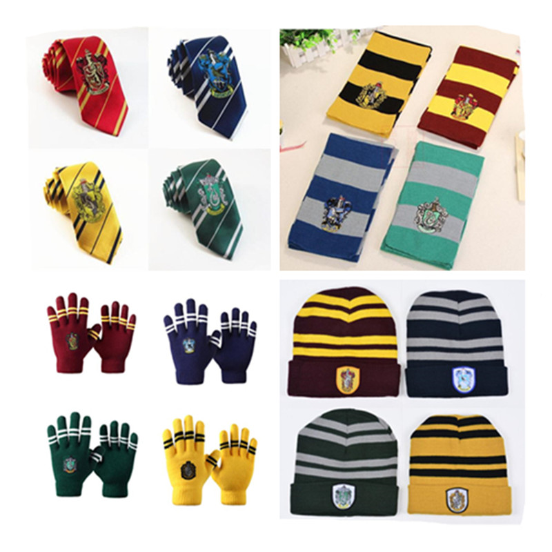 Wholesale Harri Potter HOGWARTS Gryffindor Slytherin Hufflepuff Ravenclaw Cosplay Costume Necktie Ties scarf glove Socks 10 PCS