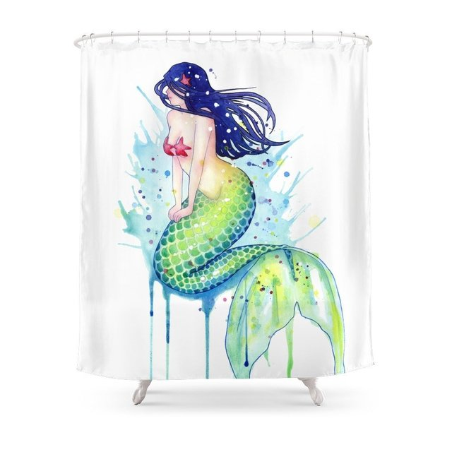 Mermaid Splash Shower Curtain Waterproof Polyester Fabric Bathroom Decor  Multi Size Printed Shower Curtain With
