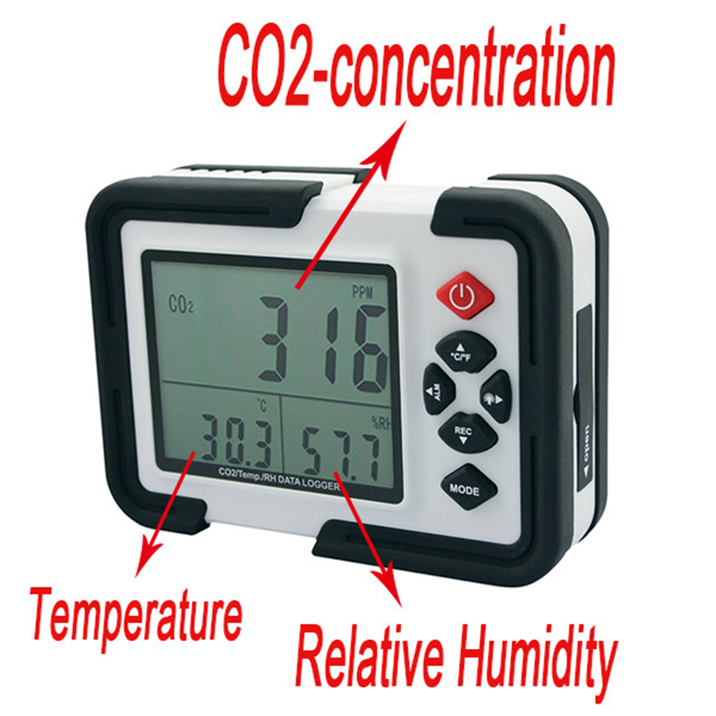 CO2 Detector Digital Temperature Humidity Tester CO2 Monitor 9999ppm Relative Gas Analyzer CO2 Meter Thermometer Hygrometer