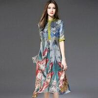 100 Silk Dress Women Printed Patchwork O Neck Button Half Sleeves Long Dress Grade Fabric Beach