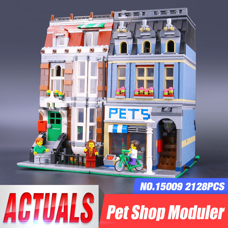 LEPIN 15009 2082pcs Pet Shop Supermarket Model City Street Building Blocks Compatible legoing 10218 Toys For Children lovely Toy a toy a dream lepin 15008 2462pcs city street creator green grocer model building kits blocks bricks compatible 10185