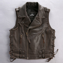 Motorcycle cow leather vest male 2016 large harley genuine cowhide leather motorcycle rider vest