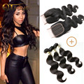 QT Peruvian Body Wave Lace Closure With Hair Bundles 4 Bundles Virgin Peruvian Human Hair With Closure Weave Iwish Hair Products