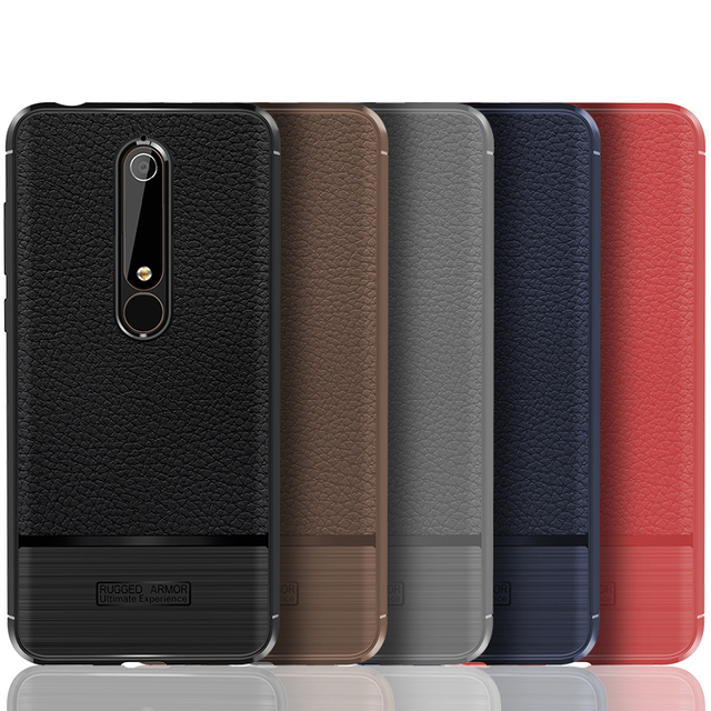 For Nokia 6 2018 Case 1 Soft Silicone Rugged Armor Shockproof Back Cover Cases