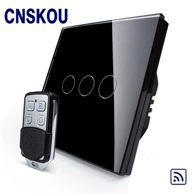 CNSKOU EU Standard 3 Gang 1 Way AC220~250V Glass Panel 433MHZ RF Remote Control Motion Sensor Wall Light Switch