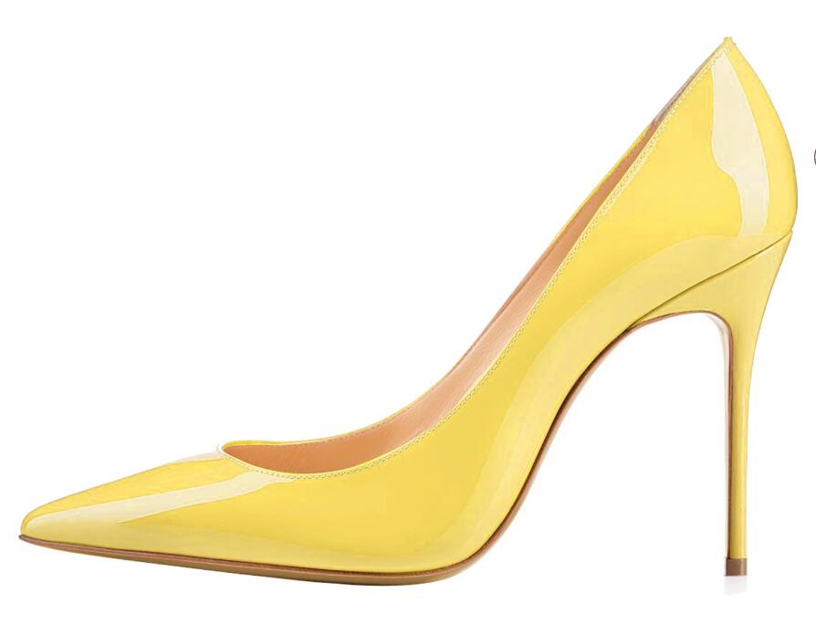 Sexy Pointed toe Yellow Patent Leather High Heel Shoes Woman Pumps Slip-on Stiletto Heels Thin heels Shoes Party Wedding Shoes цены онлайн