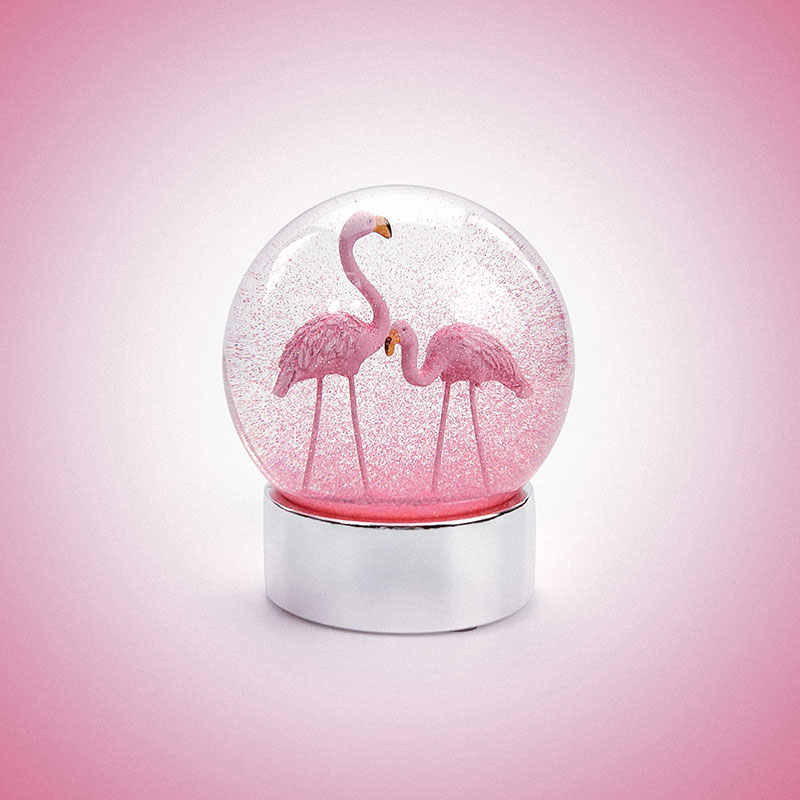 10*12CM Romantic Flamingos Snow Globes Crystal Ball Home Desktop Crafts Myth Legend Mystical Decor Collectibles New Year Gifts