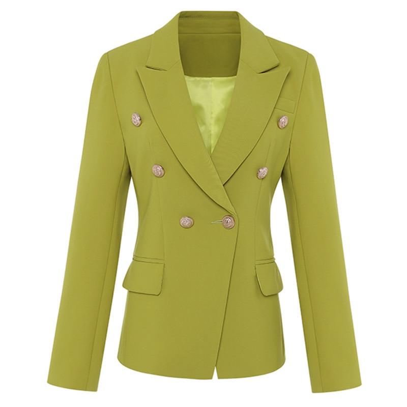 Double Bureau 2018 Dames Designer Bouton Slim Femmes Blazer Formelle Vêtements Automne Or Manteau Piste Lion Breasted Hiver Veste vO1IFwqvx