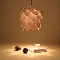 Modern Art DĄB Drewniane Szyszka Wisiorek Światła Lampy Wiszące Karczoch Drewna Jadalnia Restauracja Retro Oprawy Oprawy