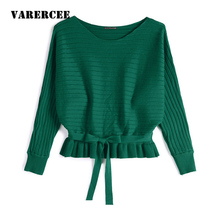 VARERCEE Knitting Sweater Women 2018 Winter Autumn Fashion Pullovers Batwing Sleeve Sweater female Loose O-Neck jumper Femme