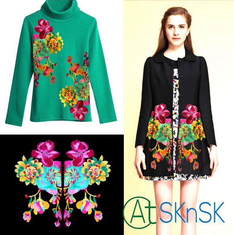 1 pár velké vyšívané Pivoňka květinové záplaty etnické - Umění, řemesla a šití