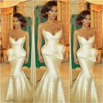 Sexy V Neck Sleeveless Long Peplum Prom Dresses Taffeta Mermaid Floor Length Wedding Party Dress