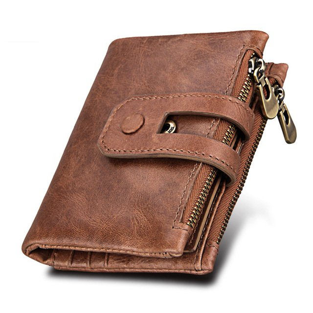 bb2aef21e76d3 Hot Sale Fashion Genuine Leather Short Men s Wallet Anti-RFID High Quality  Cow Leather Large