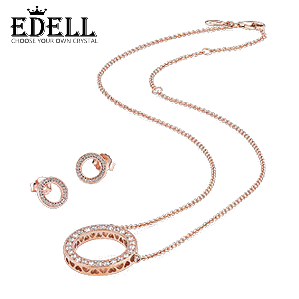 EDELL 1:1 S925 Sterling Silver Earrings & 14K Rose Gold Suit Ear Studs Charm Beads Fit Bracelet DIY PAN Necklace Free mail 925 silver plating rose shaped ear studs pair