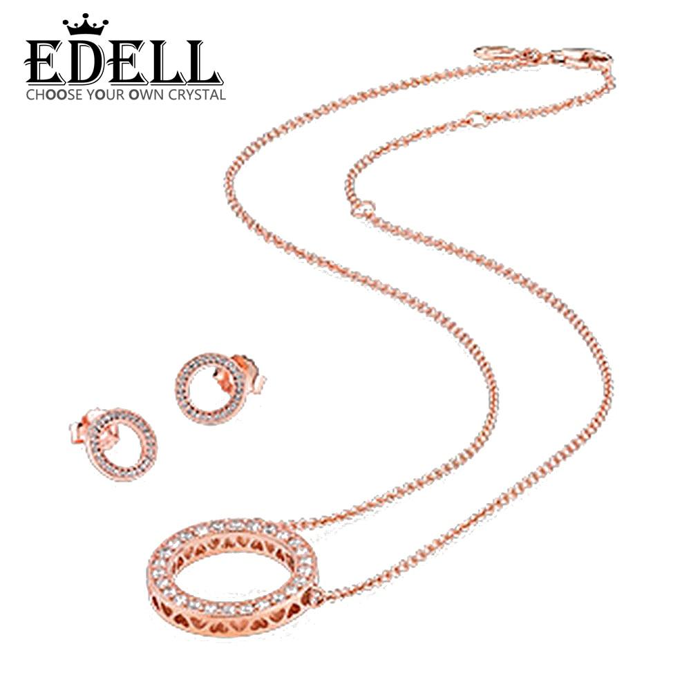 EDELL 1:1 S925 Sterling Silver Earrings & 14K Rose Gold Suit Ear Studs Charm Beads Fit Bracelet DIY PAN Necklace Free mail недорго, оригинальная цена
