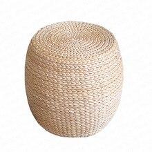 Madeira maciça simples pequeno banco de palha rattan a redonda para sapatos banco almofada banqueta casa sofá banco barra banqueta madera