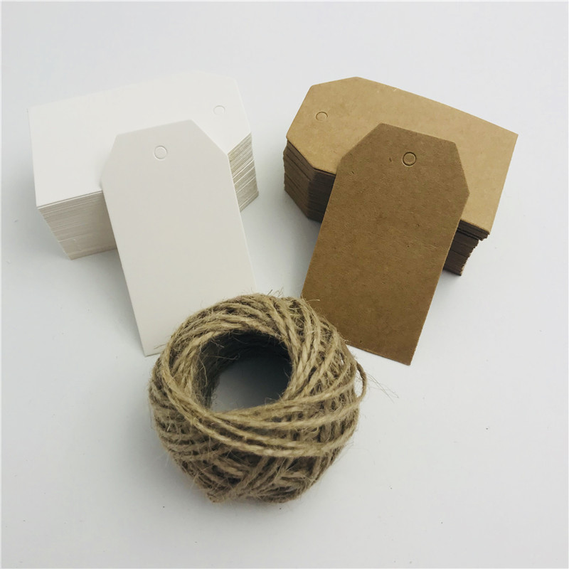 100pcs/lot White Brown Kraft Paper Tags DIY Trapezoidal Labels Luggage Wedding Note Blank Price Hang Tag 15m String 4*7cm