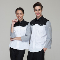 Fashion Restaurant Hotel Uniform Women Female Waitress Blouse Men Male Waiter Shirt Adjustable Sleeve White Color