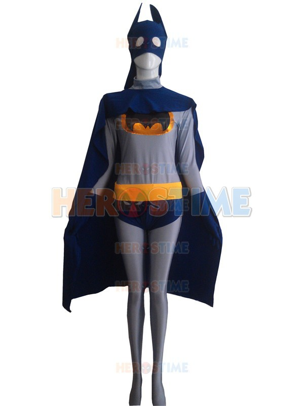 Navy Blue & Grey Batman Superhero Costume the most popular halloween cosplay party Batman show zentai suit