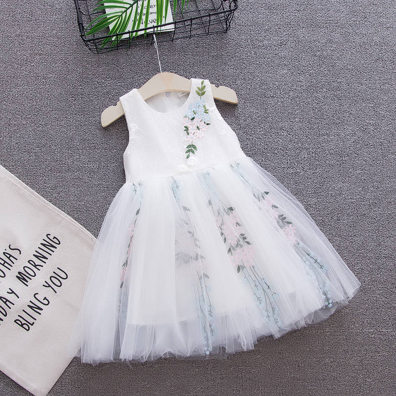 U-SWEAR 2019 New Arrival   Flower     Girl     Dresses   Sleeveless O-neck Flora Embroidery Chiffon   Flower     Girl   Pageant Ball Gown