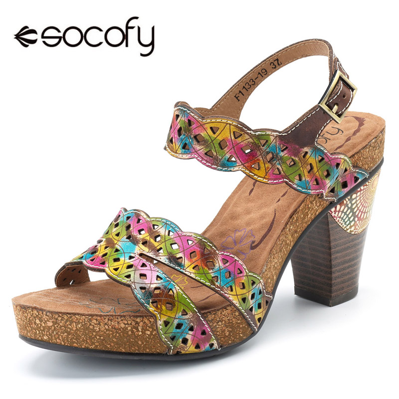 Socofy Bohemian Slingback Sandals Genuine Leather Shoes Woman Summer Block High Heels Printed Ankle Strap Buckle Women Shoes New designer summer two strap sandals purple block high heels suede korean square genuine leather women pumps thick shoes slingback