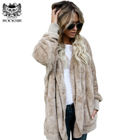 ROCKSIR Women Fuzzy Fleece Jacket Overcoat 2017 Winter Loose Open Stitch Hooded Cardigan Coats Ladies Casual