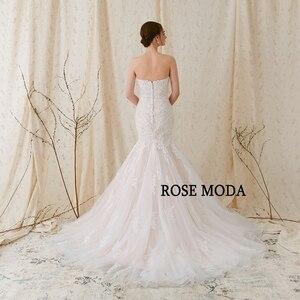 Image 3 - Rosa Moda Scintillante Del Merletto Sirena Abito Da Sposa Rosa Abiti Da Sposa con Pizzo Reale Foto
