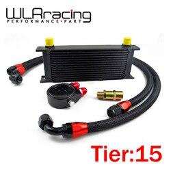 Wyścig WLR-uniwersalny 15 rzędów chłodnicy oleju + filtr oleju ADAPTER warstwowy czarny + SS z nylonu ze stali nierdzewnej w oplocie ze stali nierdzewnej AN10 wąż